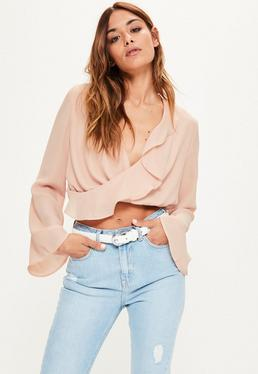Nude Chiffon Ruffle Wrap Over Crop Blouse