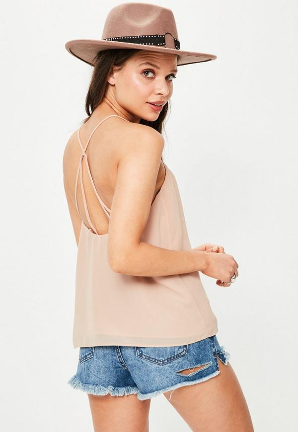 Nude Strappy Back Cami Top