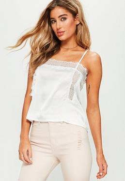 White Lace Insert Cami Crop Top
