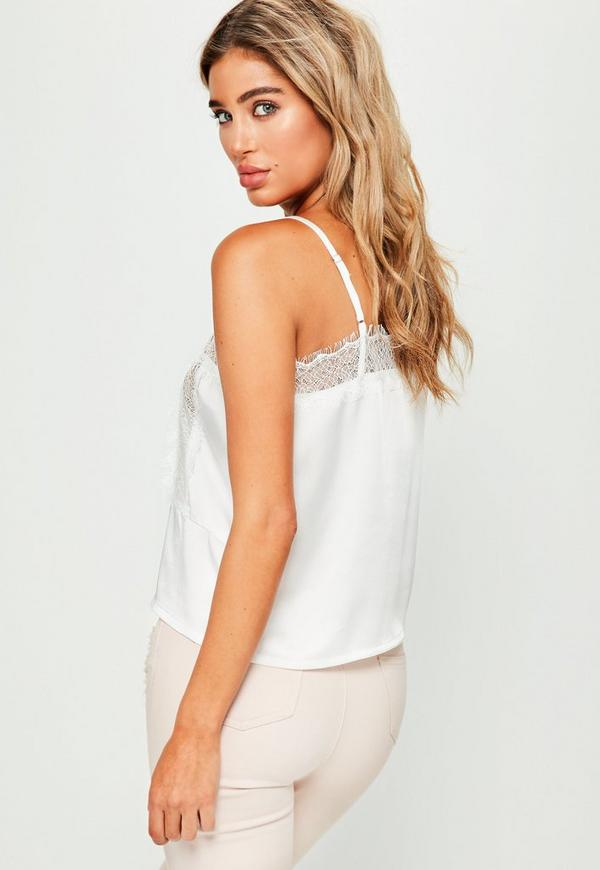 white cami crop top white lace insert cami crop top missguided 2010