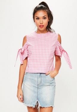Pink Gingham Cold Shoulder Tie Sleeve Blouse