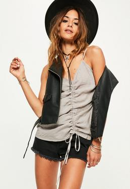 Grey Ruched Cami Top