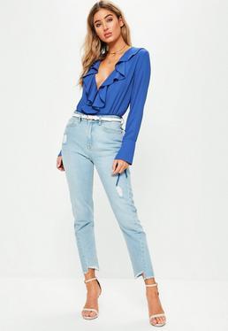 Blue Long Sleeved Frill Wrap Bodysuit