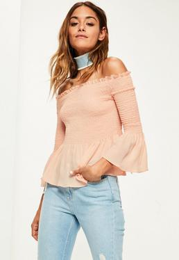 Pink Shirred Short Sleeve Bardot Frill Blouse