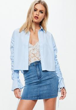 Blue Striped Ruched Sleeve Shirt