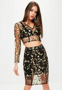 Premium Black Floral Mesh Embroidered Crop Top