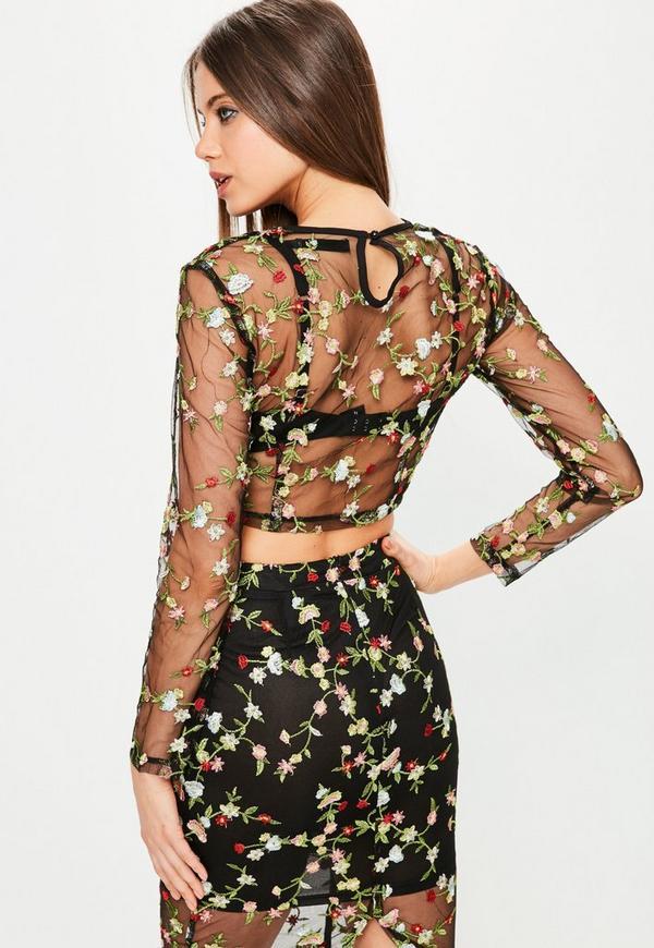premium black floral mesh embroidered crop top