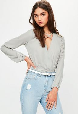 Grey Chiffon Cross Front Bodysuit