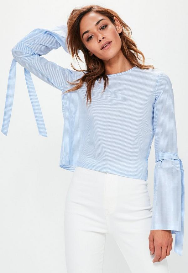 Blue Striped Tie Detail Flare Sleeve Blouse