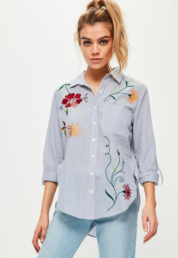 Blue striped floral embroidered shirt missguided