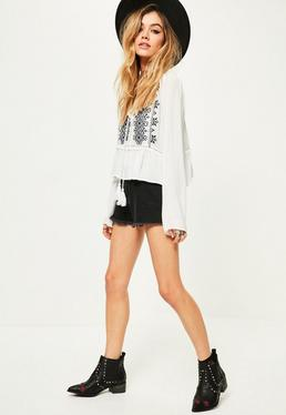White Cheesecloth Embroidered Tie Blouse
