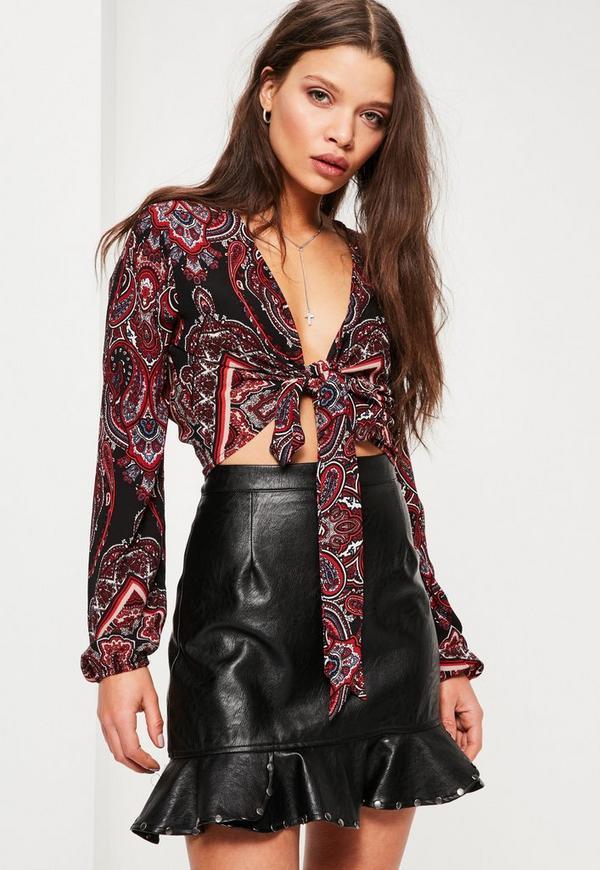 Black Paisley Print Tie Front Crop Blouse