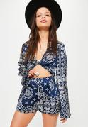 Blue Paisley Print Flare Sleeve Crop Blouse