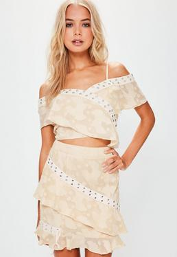 Cream Eyelet Wrap Over Frill Crop Top