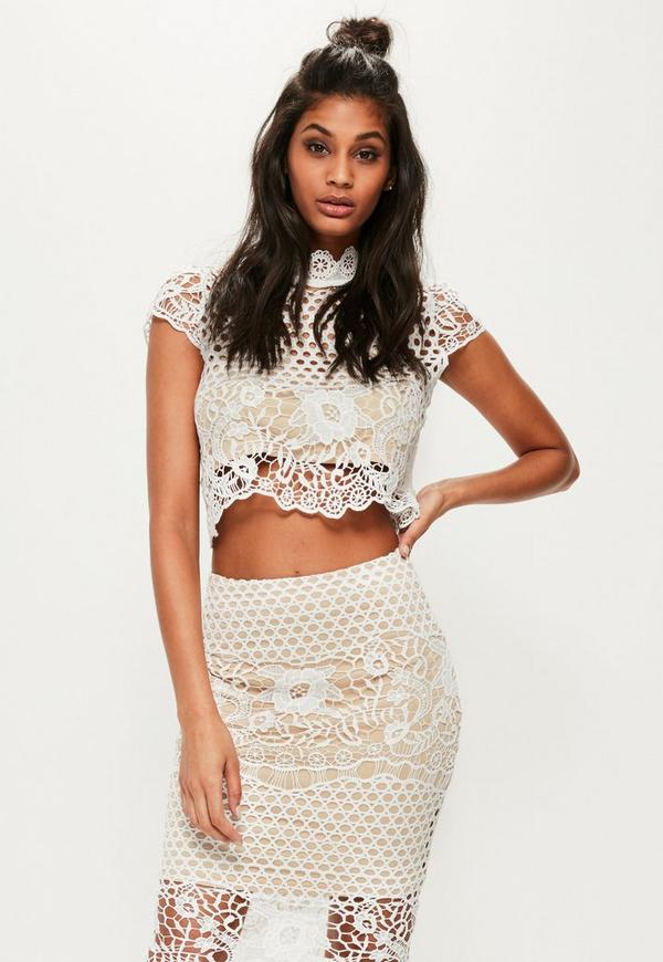 White High Neck Lace Short Sleeve Crop Top