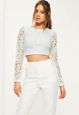 Blue Long Sleeve Crochet Lace Crop Top