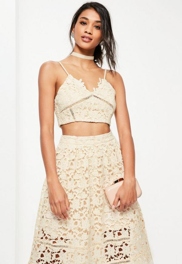 Premium Nude Strappy Lace Ladder Detail Bralet