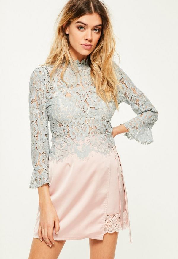 Blue Lace Flare Cuff Blouse | Missguided