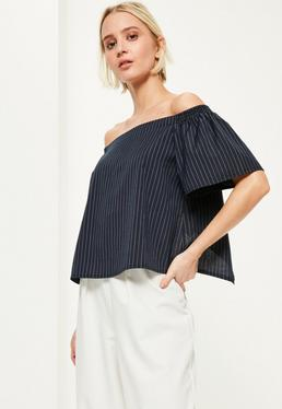 Blue Split Back Pinstripe Bardot Top