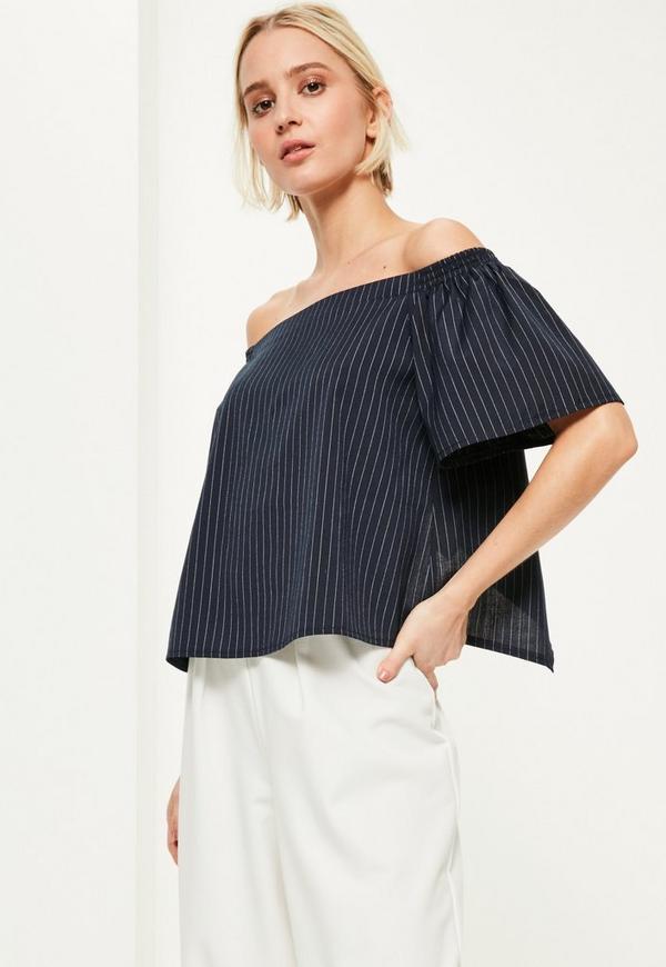 Blue Split Back Pinstripe Bardot Top