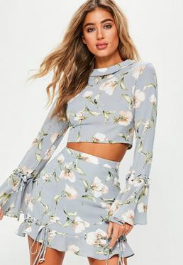 Blue Flared Sleeve Floral Print Cropped Blouse