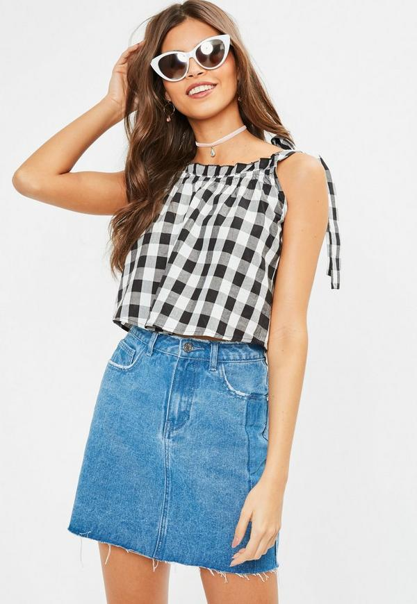 Black Gingham Cami Top
