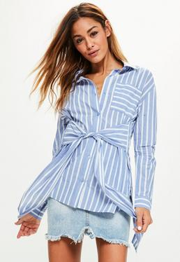 Blue Striped Tie Front Pocket Detail Shirt
