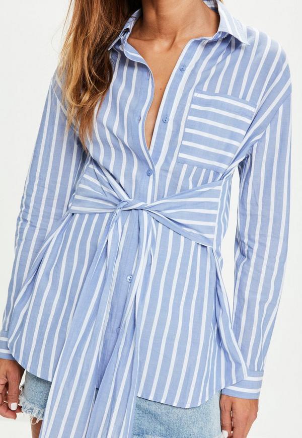 Blue striped tie front pocket detail shirt missguided for Striped tie with striped shirt