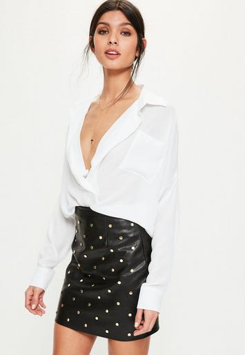 White oversized plunge shirt missguided for Womens tall button down shirts