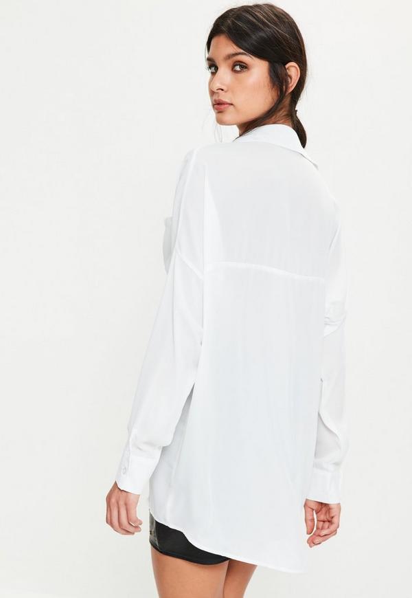 White Oversized Plunge Shirt | Missguided