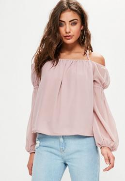 Różowa szyfonowa bluzka bardot