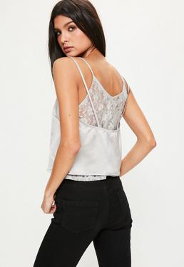 Grey Lace Insert Satin Cami Top