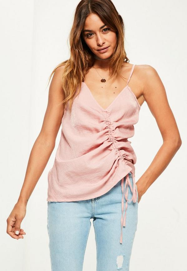 Pink Ruched Cami Top