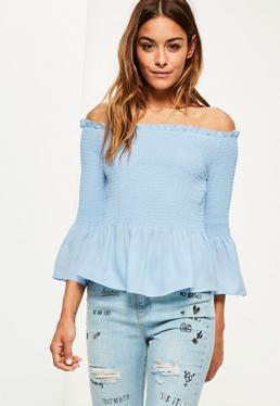 Blue Shirred Short Sleeve Bardot Frill Blouse