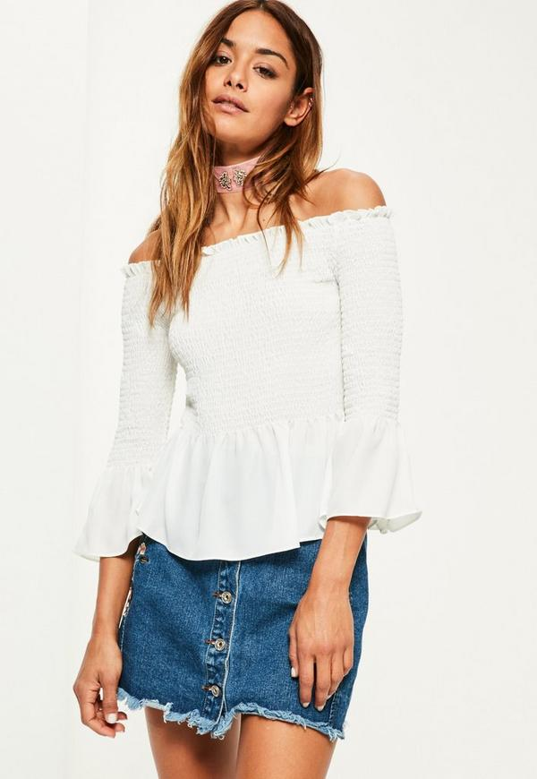 White Shirred Short Sleeve Bardot Frill Blouse