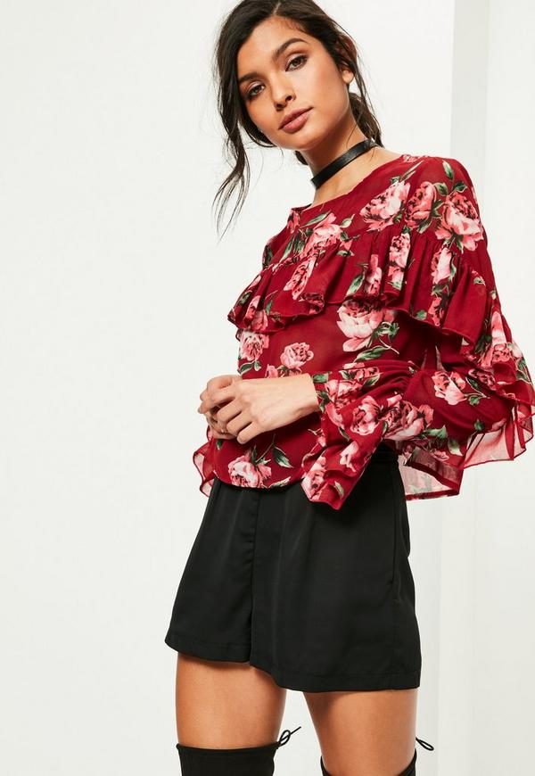 Red Floral Printed Frill Blouse