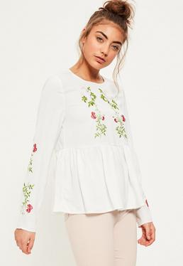 White Embroidered Frill Hem Blouse