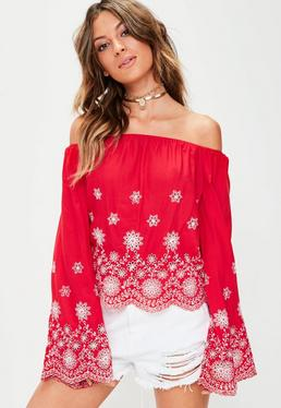 Red Broderie Anglais Bardot Top