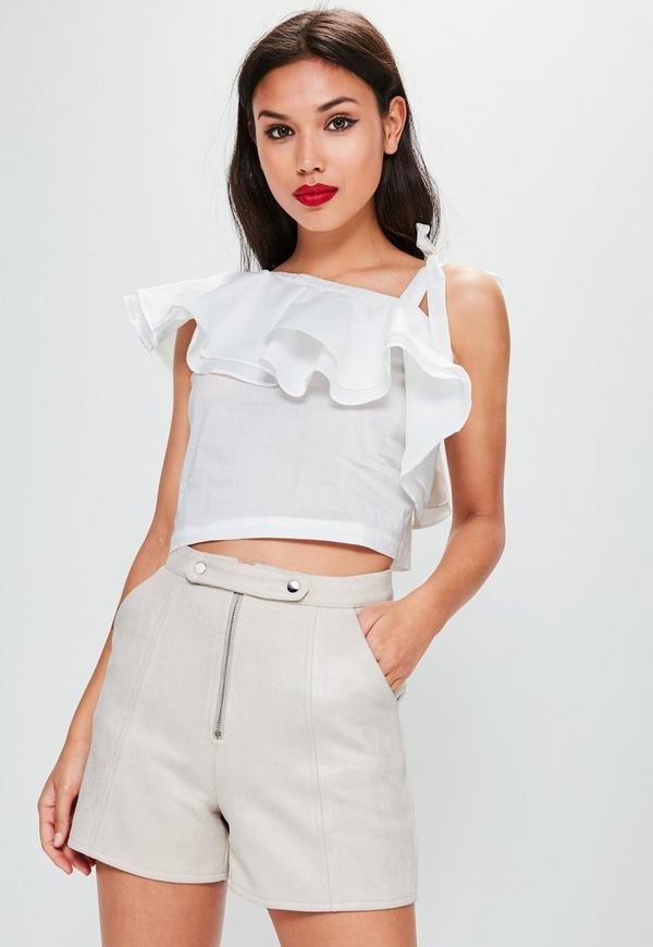 White Frill One Shoulder Crop Top