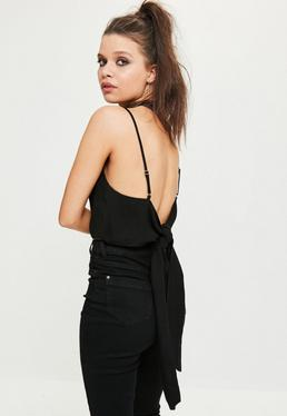 Black Tie Back Crop Top