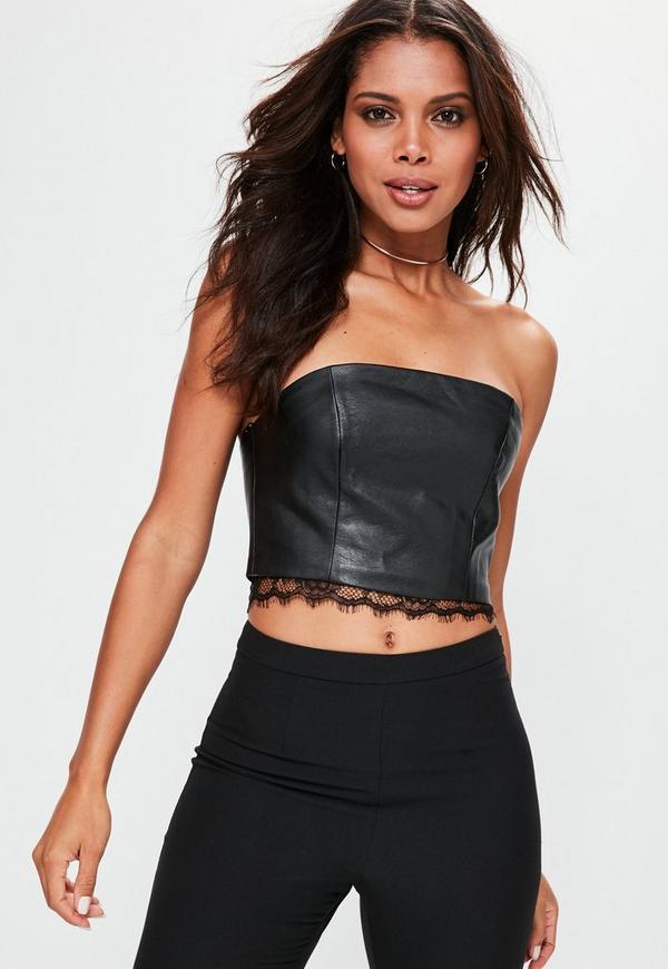Black Faux Leather Lace Trim Bandeau Crop Top