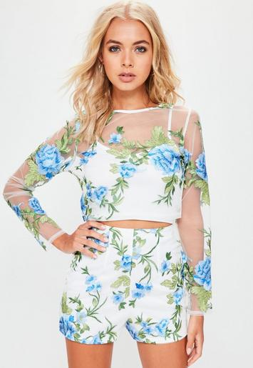 white floral mesh embroidered crop top