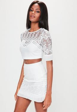 White Mesh Embroidered Pleated Cuff Crop Top