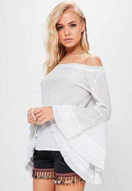 White Cheesecloth Flare Sleeve Bardot Blouse
