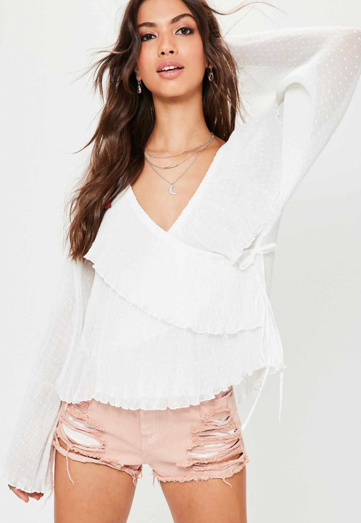 White Dobby Ruffle Wrap Front Blouse | Missguided