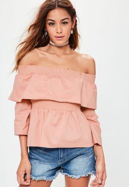 Blusa bardot con volantes fruncidos en rosa