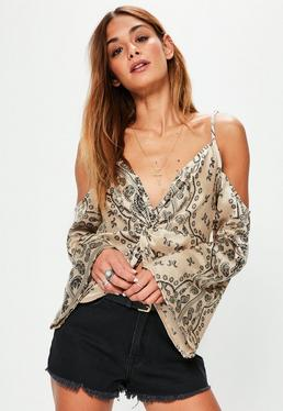 Nude Paisley Knot Front Cold Shoulder Blouse