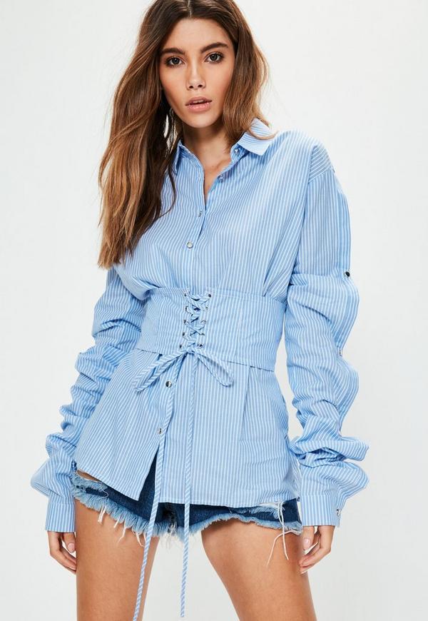 Blue Striped Corset Button Sleeve Oversized Shirt