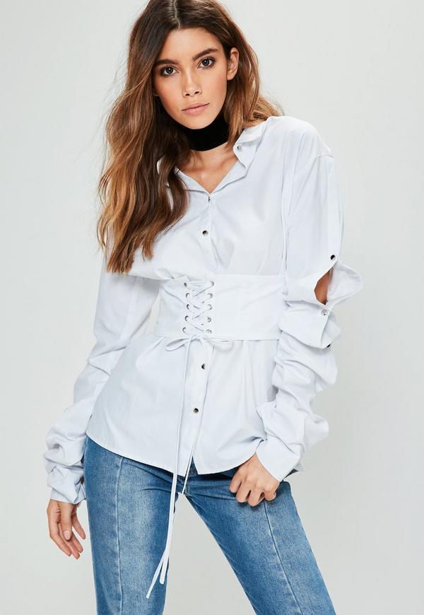 White Corset Button Sleeve Oversized Shirt