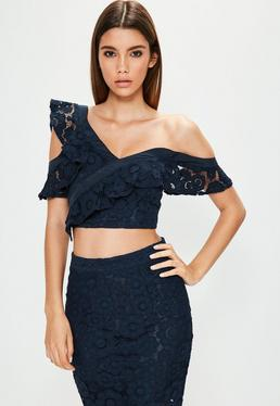 Navy Floral Frill Lace Top